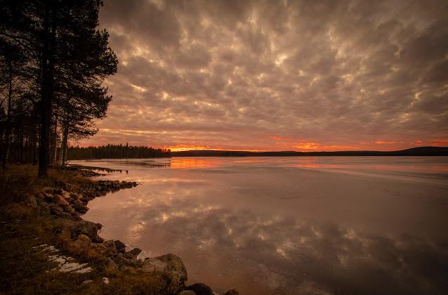 Tramonto al laghetto Ylijärvi, a Kemijärvi