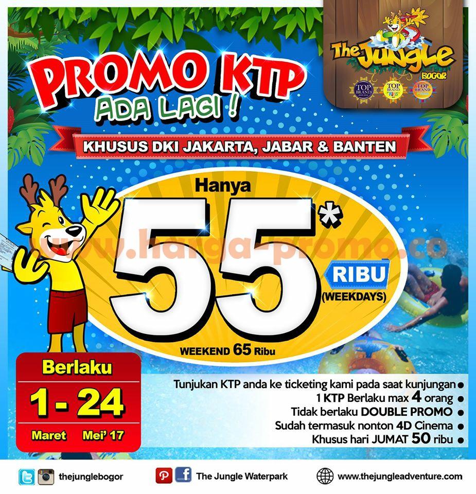 Promo JUNGLE WATERPARK Terbaru Harga Weekday Rp 55000 Weekend Rp 60.000 Periode 01 Maret - 24 Mei 2017