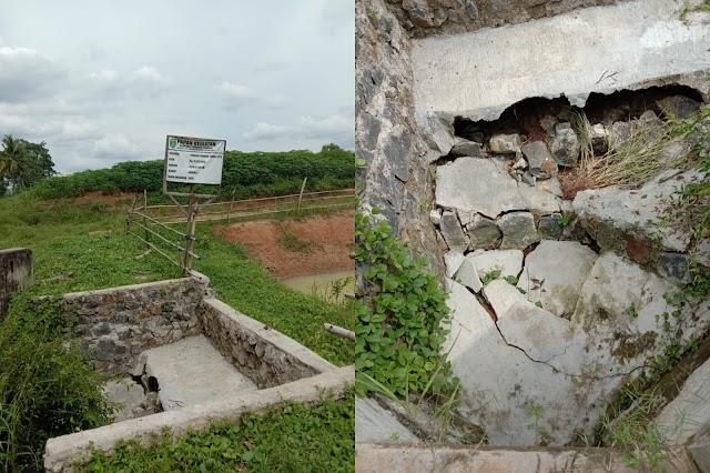 Lantai Dasaran TPT Jebol dan Amblas di Desa Purnama Tunggal Kec.Way Pengubuan