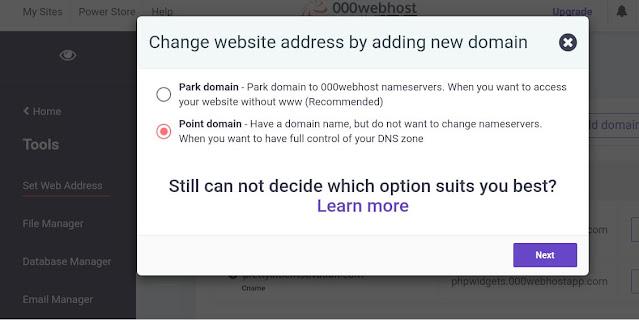 Set web address