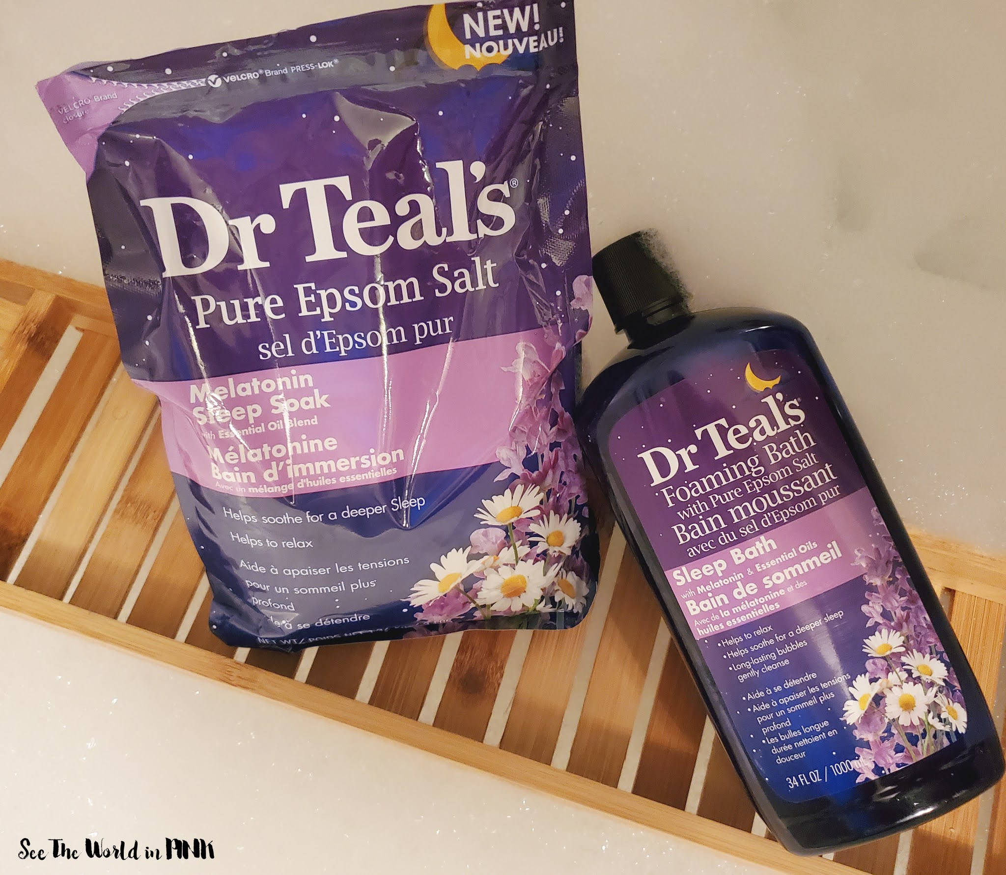 Relaxing Bubblebath Night With Dr. Teals Melatonin Epsom Salts and Foaming Bath