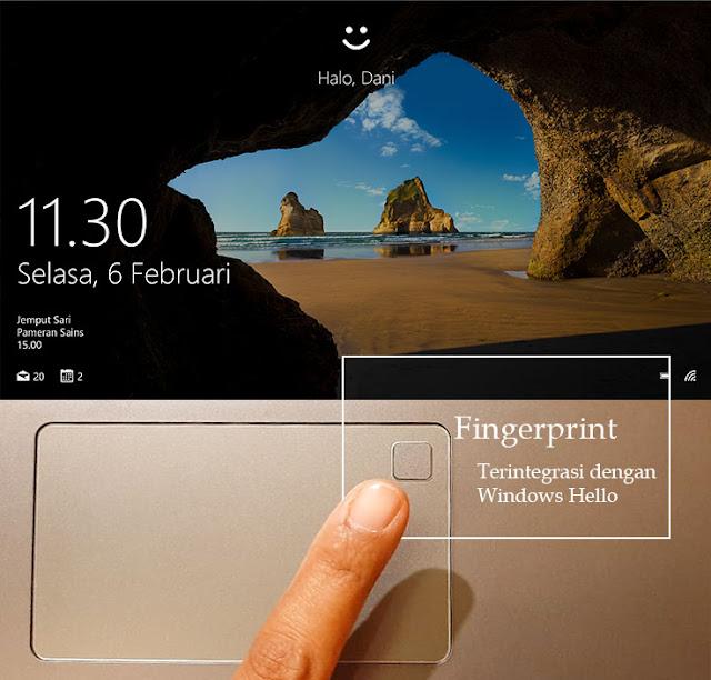 tampilan windows hello di layar laptop asus vivobook ultra a412