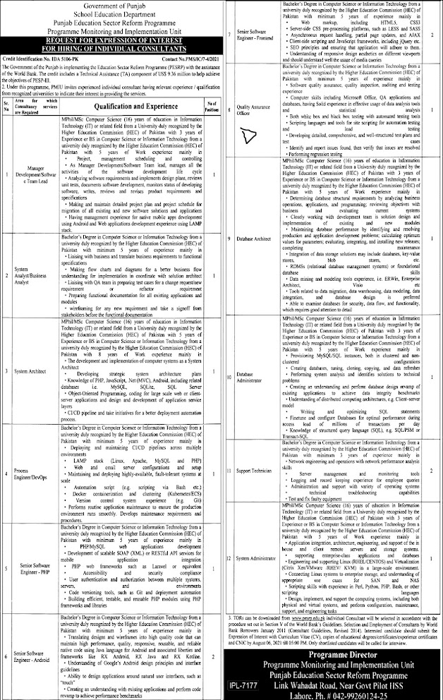 Latest  Jobs in Punjab School Education Department PSED