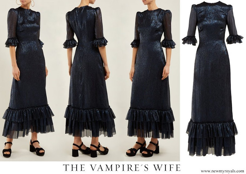 Crown Princess Mette-Marit wore The Vampire's Wife Cinderella ruffle-trimmed silk-blend maxi dress