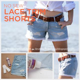 diy fashion denim shorts--No Sew Summer DIY tutorial lace trimmed denim shorts