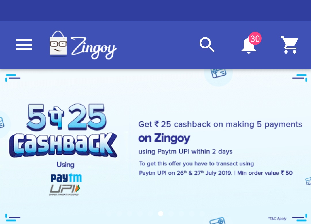 Amazon Flipkart Paytm And Other Best Offers: Zingoy-Paytm 5