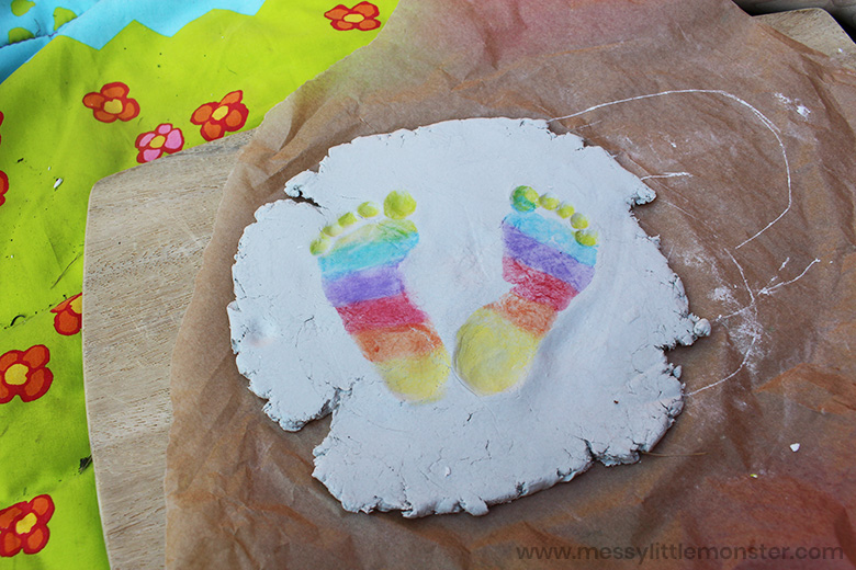 clay rainbow baby footprints