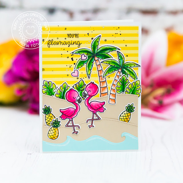 Sunny Studio Stamps: Fabulous Flamingos Seasonal Trees Sending Sunshine Catch A Wave Summer Themed Flamingo Cards by Franci Vignoli and Mona Toth
