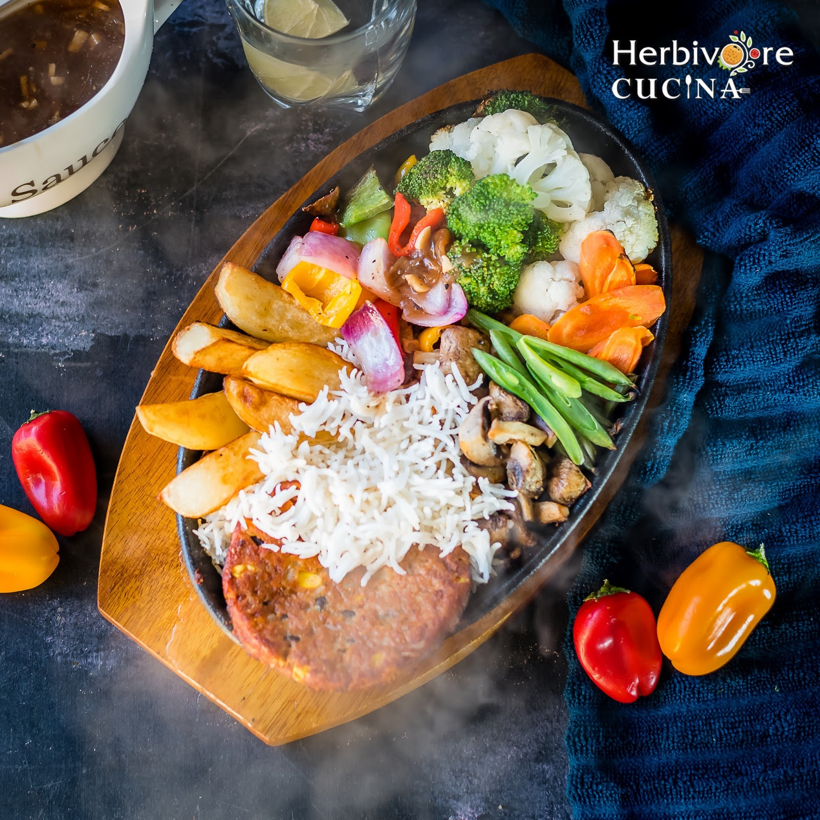 Herbivore Cucina: Vegetable and Patty Sizzler
