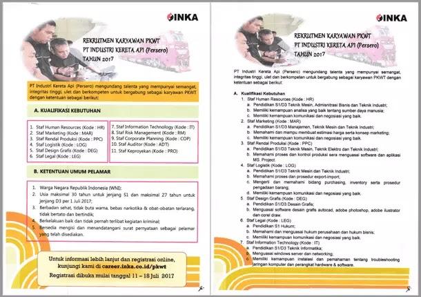 Rekrutmen Karyawan PT Industri Kereta Api (INKA) Tahun 2017