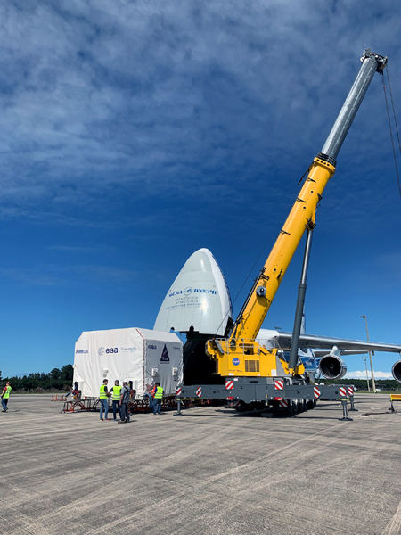 The payload canister carrying the European Service Module for NASA's Artemis 2 mission is about to be transported from the Launch and Landing Facility to the Neil Armstrong Operations and Checkout Building at Kennedy Space Center's Industrial Area...on October 14, 2021.