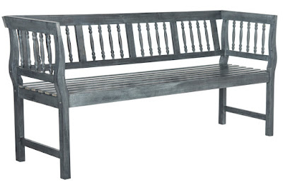 gray laminated wood outdoor bench