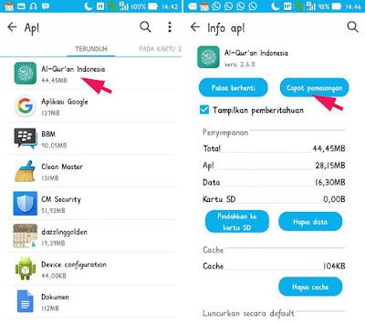 Hapus Aplikasi di HP ASUS