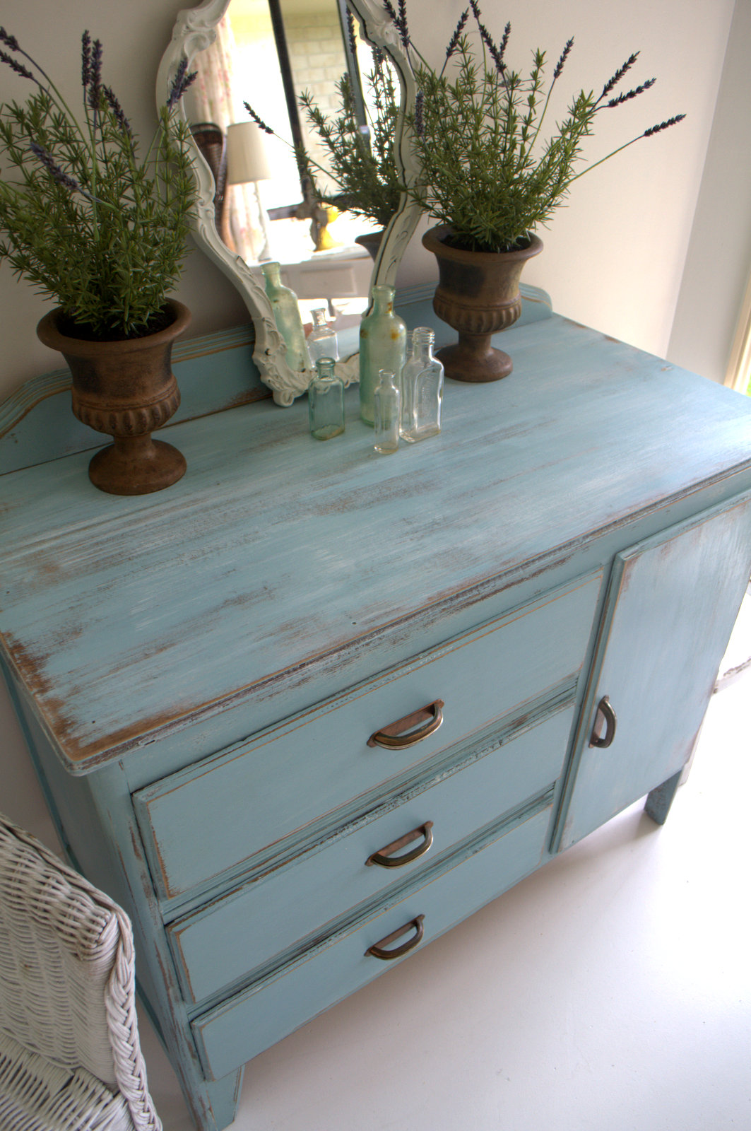 Sweet Blue Vintage Drawers Dresser Paint Me White