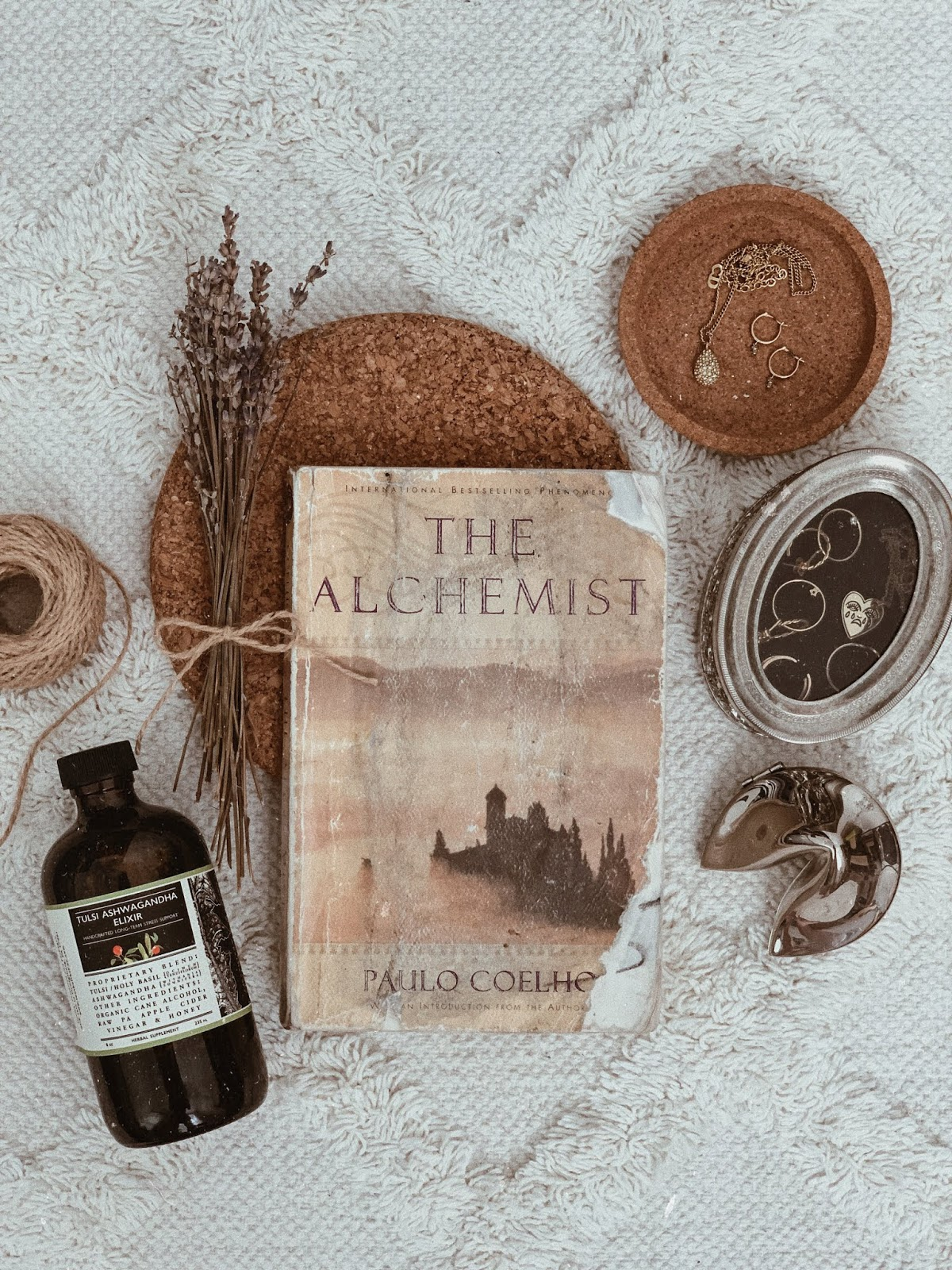 flatlay of the alchemist by paulo coelho - book review | book book bitch