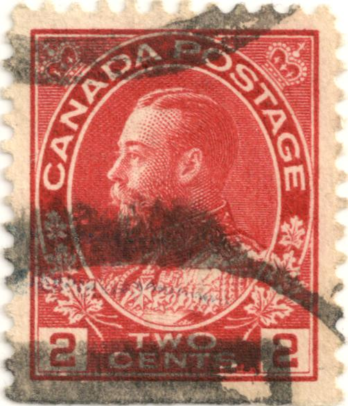 King George V Admiral Of The Fleet And Oak Leaves Canada Postage Red 2 Two Cent 1911