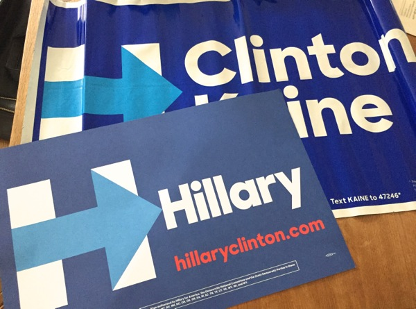 Hillary Clinton for President signs