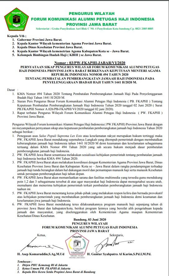 PW- FKAPHI Jabar Sikapi Pembatalan Pemberangkatan Jamaah Haji 1441 H/2020M