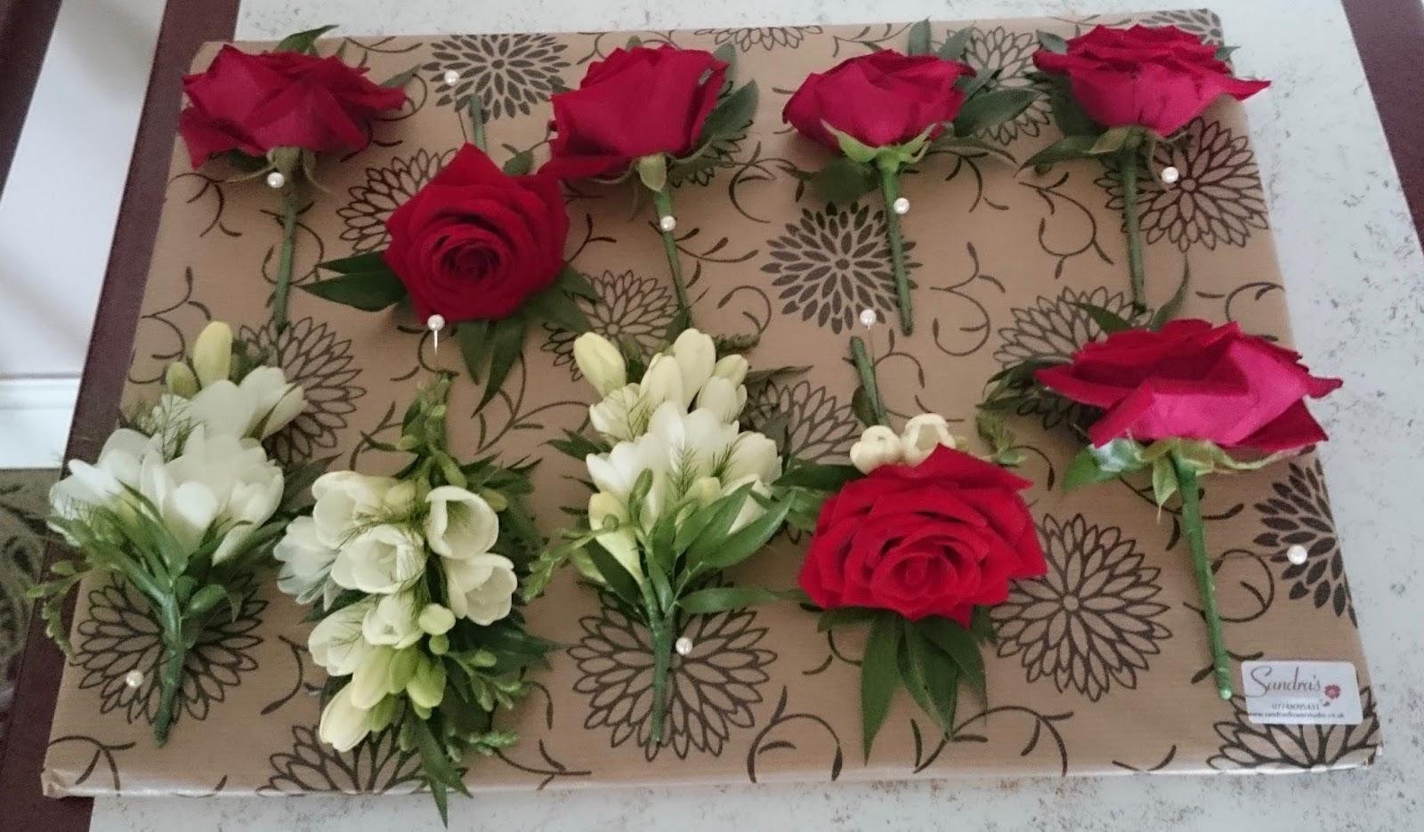 Sandras Flower Studio Red Rose And White Freesia Wedding Flowers