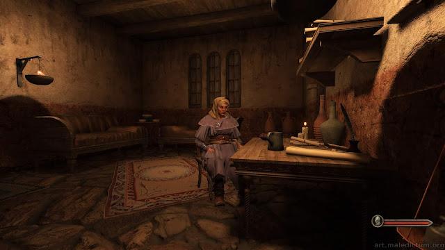 Mount and Blade II: Bannerlord - образ женщины в фэнтезийном антураже псевдо-средневекового жилища