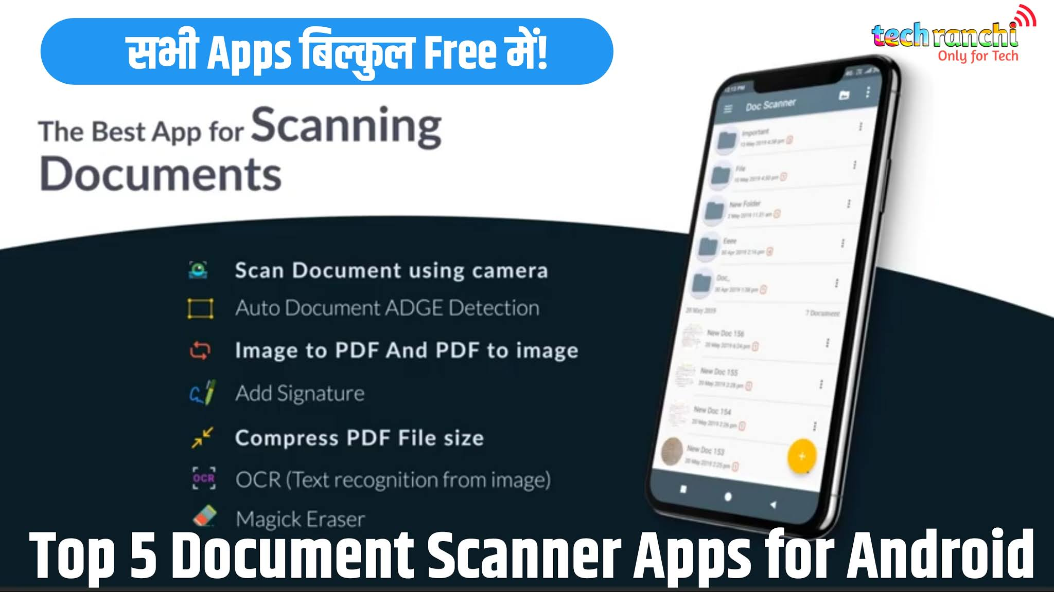 Mobile Document Scanner, Scanner Apps, Pdf Scanner, CamScanner, Images Scanner, Techranchi,