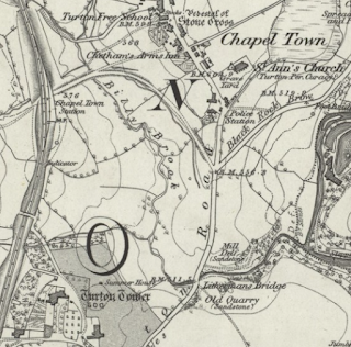 Chapeltown & Turton Tower - 1850 OS Map six-inch