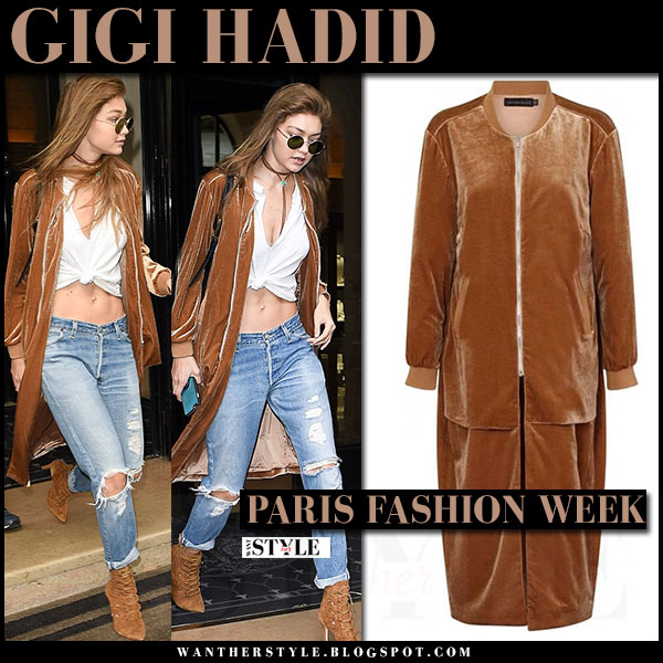 Gigi Hadid in brown velvet long bomber jacket lavish alice and ripped jeans what she wore paris fashion week