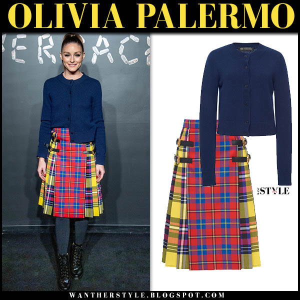 Olivia Palermo in blue versace cardigan and yellow and red plaid checked versace midi skirt winter celebrity fashion december 2