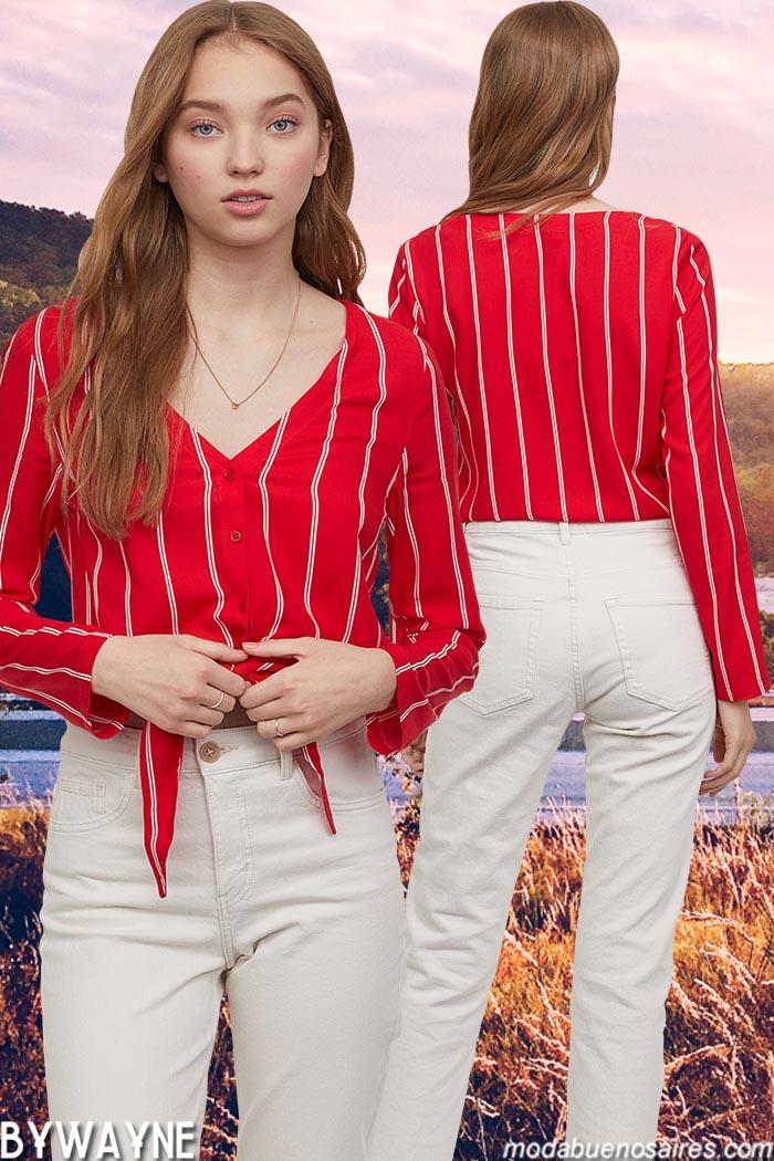 Blusas abotonadas por el frente con lazos primavera verano 2020.