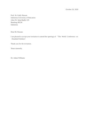 Invitation Acceptance Letter Sample