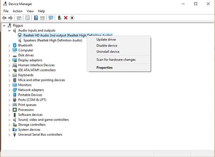 سماعات-لا-تعمل-windows-10-device-manager