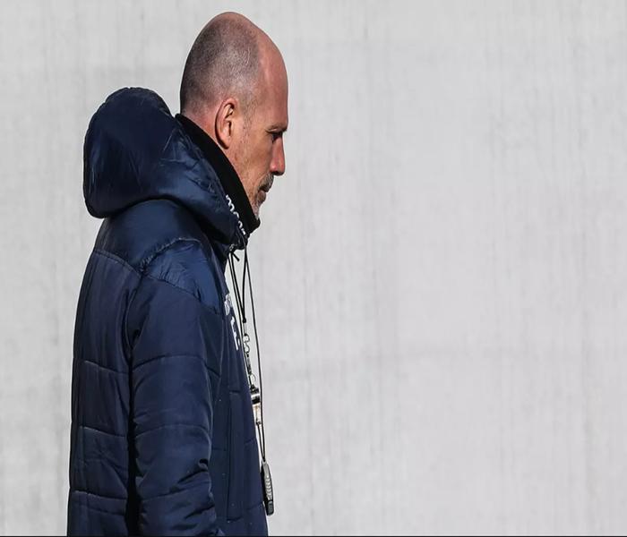 Pelatih Club Brugge, Philippe Clement menghadiri sesi latihan tim di Brugge, Rabu (19/2/2020). Club Brugge akan bertanding melawan salah satu wakil Inggris, Manchester United pada leg pertama babak 32 besar Liga Europa di Jan Breydel Stadion.