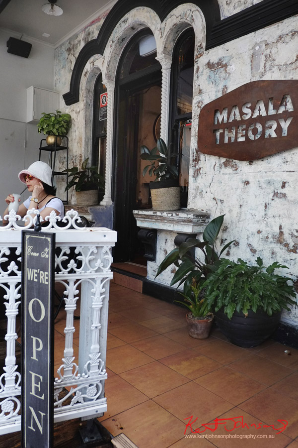 Vivienne relaxes with a Lavender Lassi at Masala Theory, Surry Hills, . Photographed by Kent Johnson for Street Fashion Sydney.