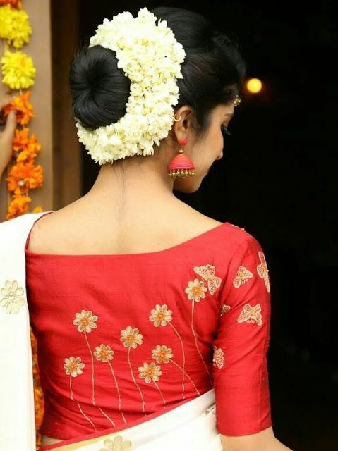 Traditional Bengali Lal Par Sada Saree and Blouse Ideas for Dashami l 7 Best Ideas