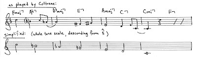 "This example illustrates Coltrane's use of a descending whole tone scale during the first four measures of his 26-2 solo from the recording, ""Coltrane's Sound""."