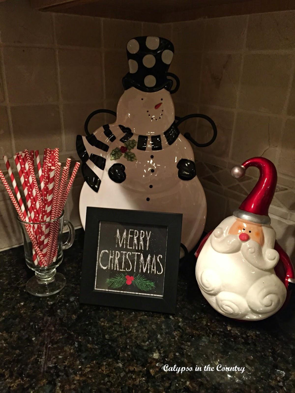 Snowman and Santa Vignette