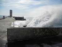 3-days in Porto - Water crashing over a breakwall near Foz outside Porto, Portugal