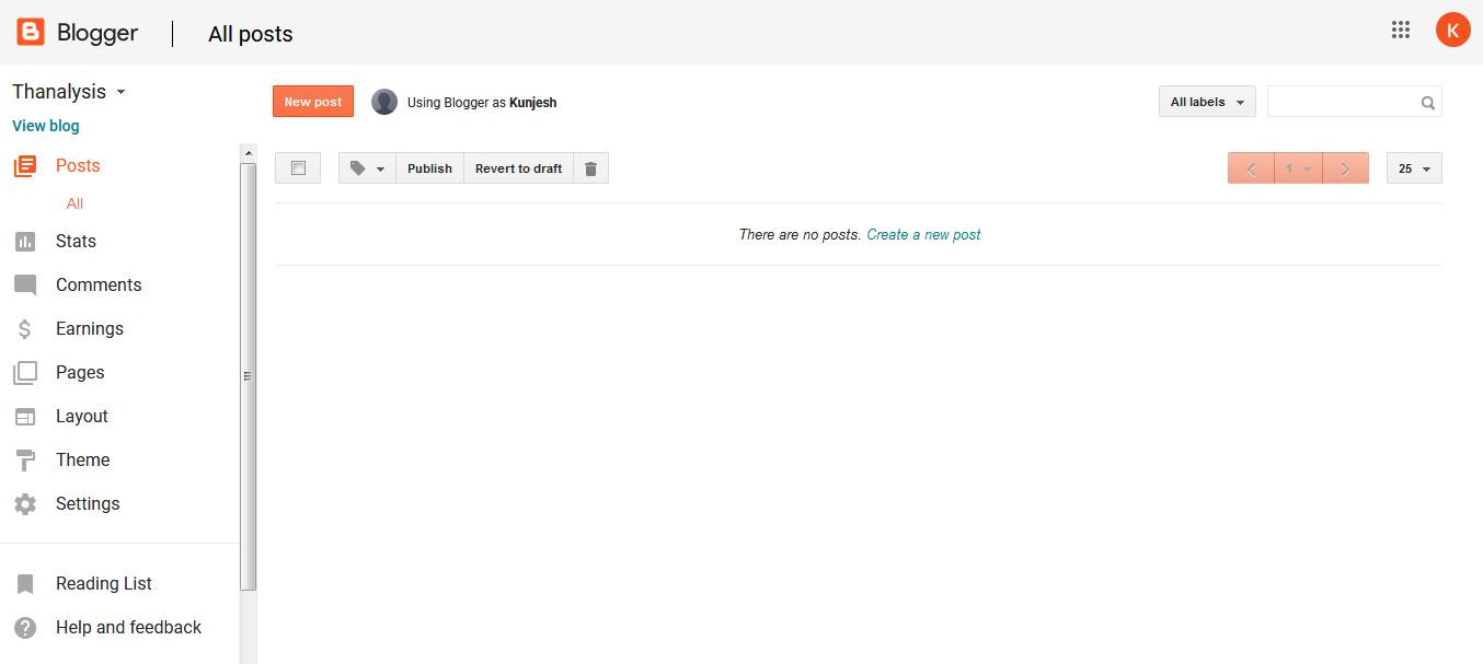 Dashboard of Google Blogger - Thanalysis