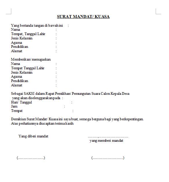 Contoh Surat Mandat Wb