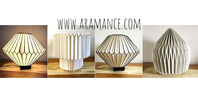 Lampe et abat jour origami