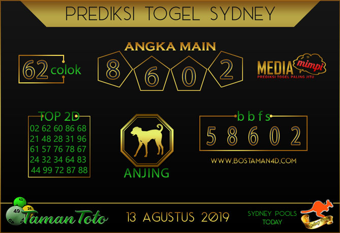 Prediksi Togel SYDNEY TAMAN TOTO 13 AGUSTUS 2019