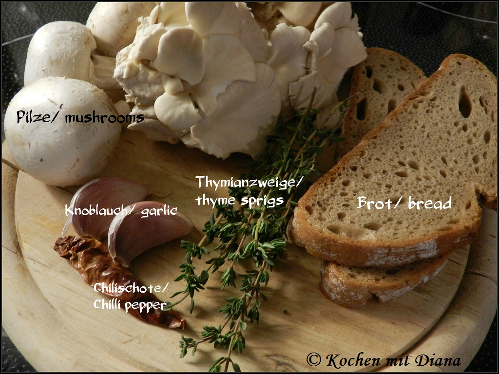 Zutaten Pilze Bruschetta