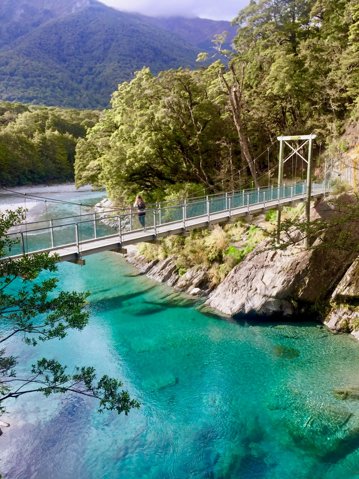 bridge over Blue Pools in Mt. Aspiring National Park, best walks in New Zealand