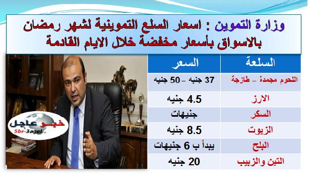 وزارة التموين تكشف اسعار السلع لشهر رمضان الأرز 4.5 جنيه واللحوم ب 50 للكيلو بالاسواق