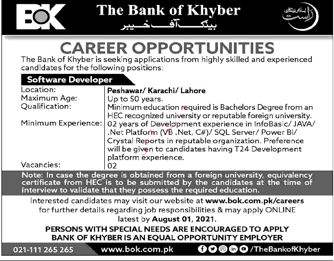 Latest Jobs in The Bank of Khyber BOK
