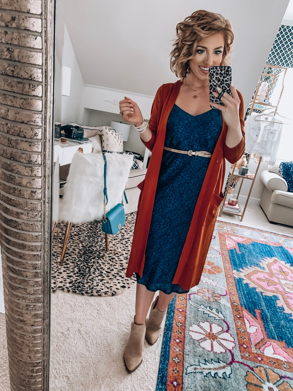 Target Fall Finds: Part One - Under $30 Navy Leopard Midi Dress + Under $30 Rust Cardigan - Something Delightful Blog