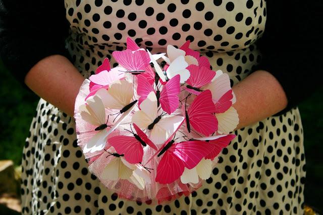 Brautstrauss Schmetterlinge pink creme
