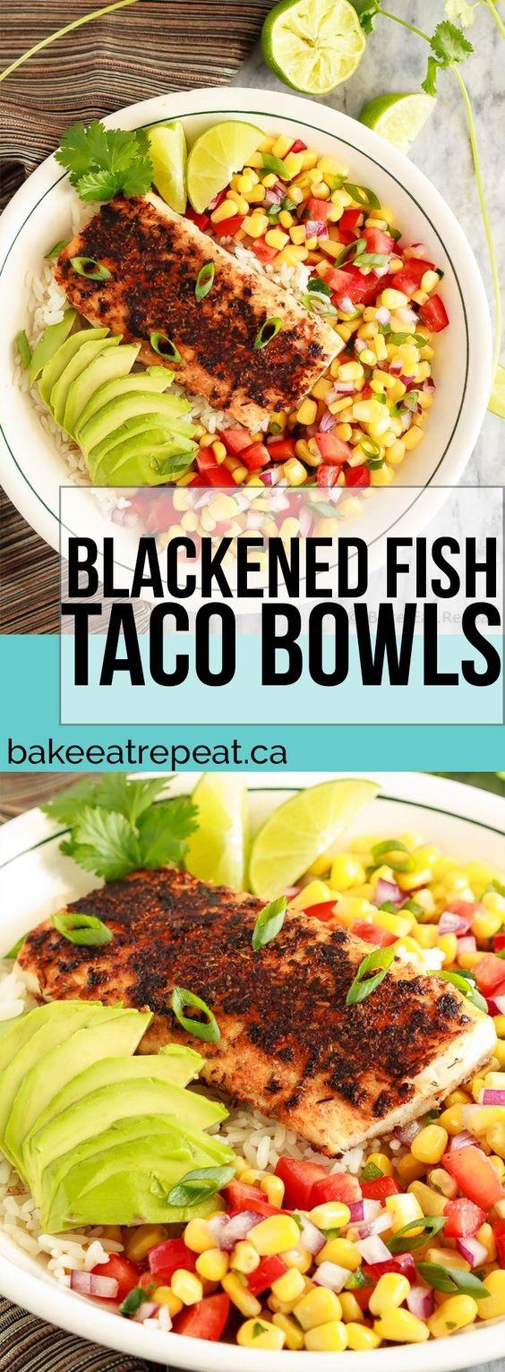 Blackened Fish Taco Bowls With Corn Salsa