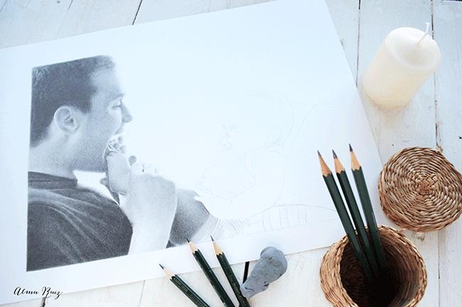 Proceso creativo de un retrato a lápiz