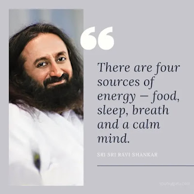 There are four sources of energy — food, sleep, breath and a calm mind.